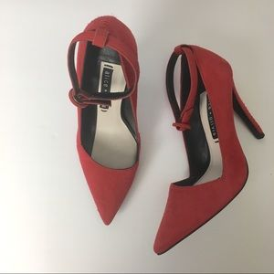 Alice + Olivia bright red pointed toe pumps